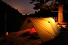 camping lamp in tent